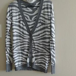 Grey white tiger print Cardigan